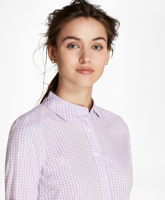Petite Non-Iron Tailored-Fit Gingham Stretch-Cotton Fun Shirt