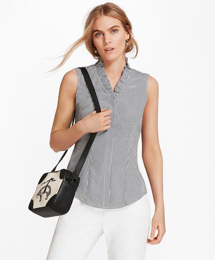 Petite Non-Iron Dot-Print Supima® Cotton Ruffle-Collar Blouse