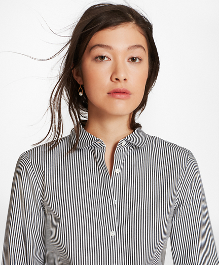 Petite Non-Iron Tailored-Fit Striped Cotton Golf-Collar Shirt