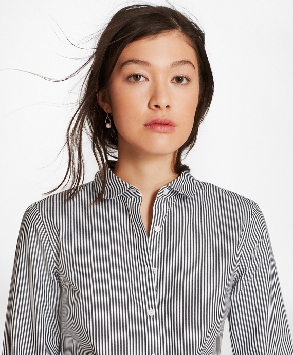 Petite Non-Iron Tailored-Fit Striped Cotton Golf-Collar Shirt Black