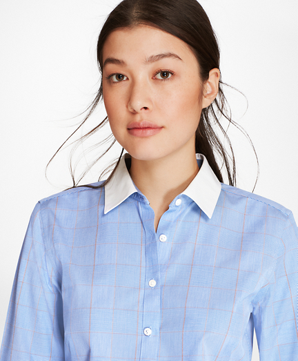 Petite Non-Iron Glen Plaid Stretch Cotton Poplin Fitted Shirt