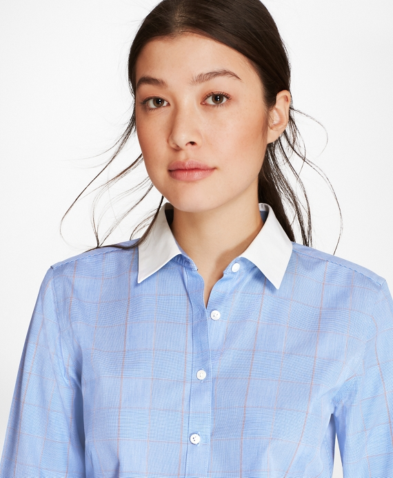 Petite Non-Iron Glen Plaid Stretch Cotton Poplin Fitted Shirt Blue