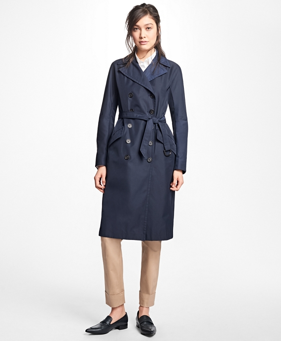 Petite Water-Resistant Double-Faced Twill Trench Coat Navy