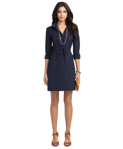 Long-Sleeve Poplin Shirt Dress