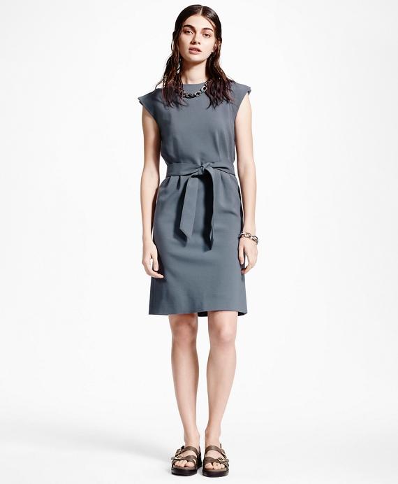 Petite Slit-Shoulder Wool Dress Grey