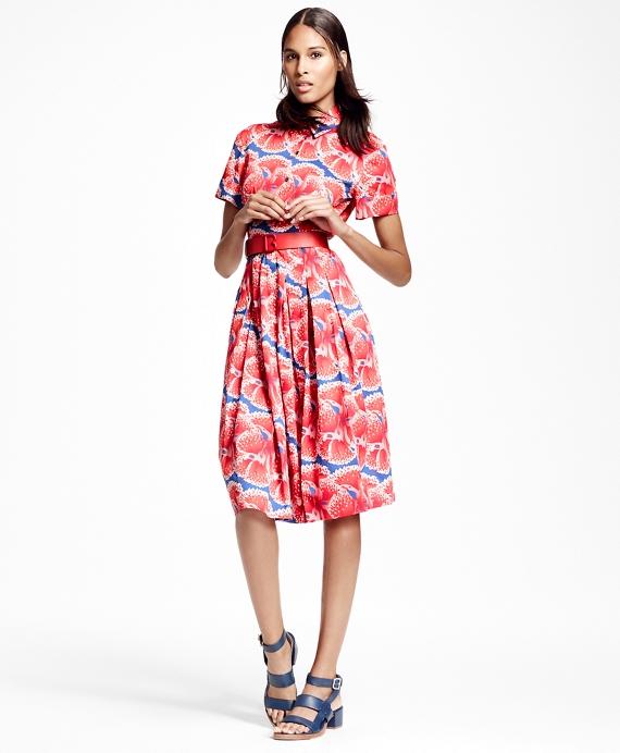 Petite Floral-Print Cotton Sateen Shirt Dress Red