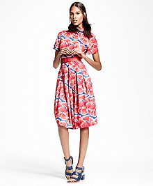 Petite Floral-Print Cotton Sateen Shirt Dress
