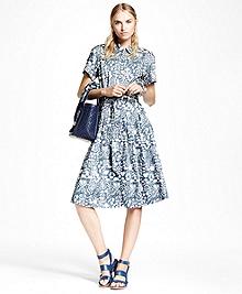 Petite Cotton Sateen Print Shirt Dress