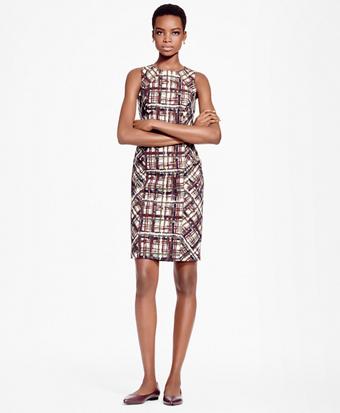 Petite Plaid Jacquard Cotton Sheath Dress