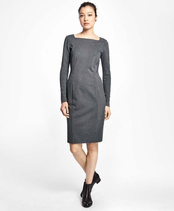 Petite Ponte Knit Sheath Dress Charcoal
