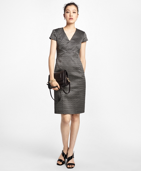 Petite Art Deco Geo-Jacquard Dress Grey Multi
