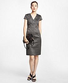 Petite Art Deco Geo-Jacquard Dress