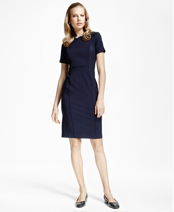 Petite Raglan Short-Sleeve Ponte-Knit Dress Navy