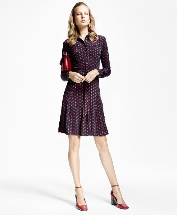 Petite Printed Jersey-Knit Shirt Dress Navy-Red