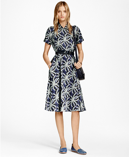 Petite Palm Tree Print Cotton Sateen Shirt Dress