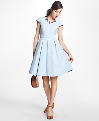 Petite Pleated-Stretch Cotton V-Neck Dress