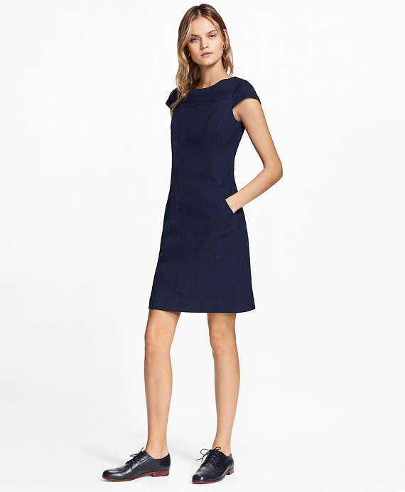 Petite Stretch Cotton Jacquard Cap-Sleeve Dress