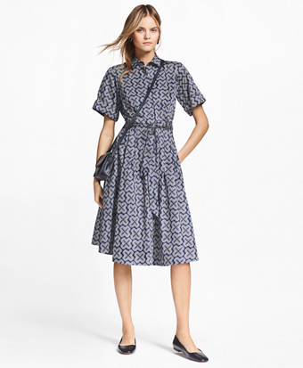 Petite Geometric-Print Cotton Sateen Shirtdress