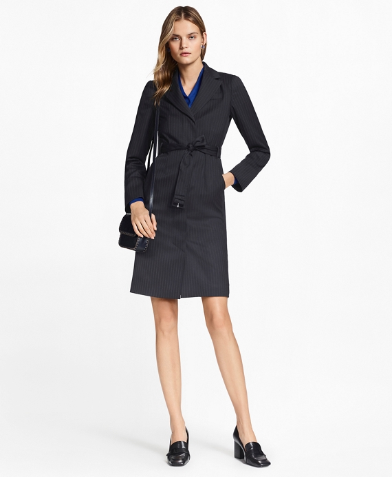 Petite Pinstripe Stretch-Wool Jacket Dress Navy