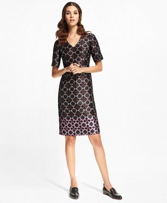 Petite Geometric Jacquard Sheath Dress