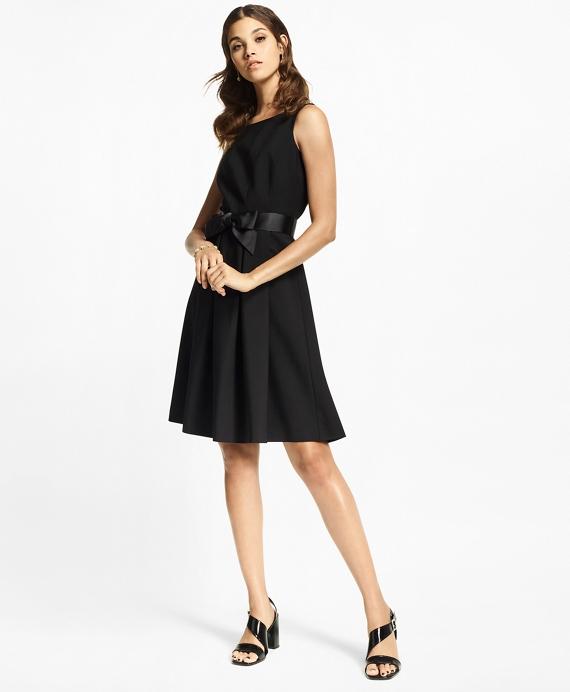 Petite Stretch Wool Crepe Flared Tuxedo Dress