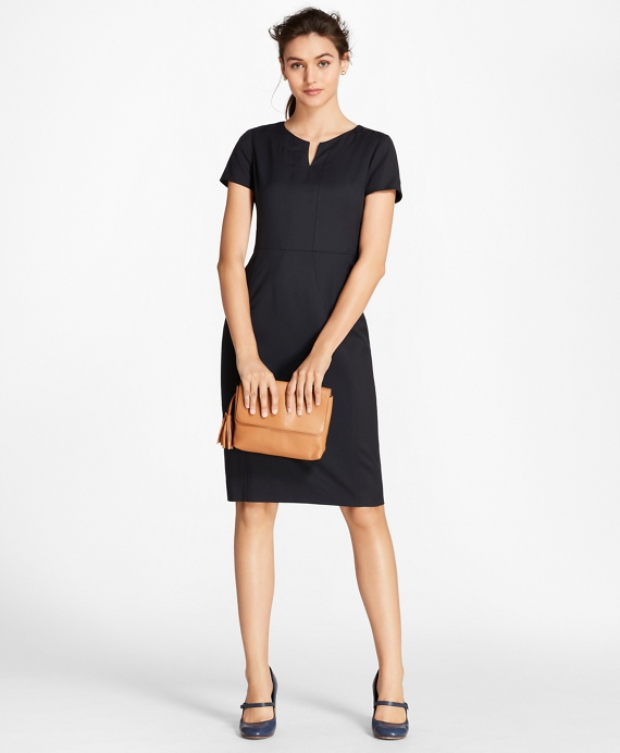 Petite Wool Sheath Dress Navy