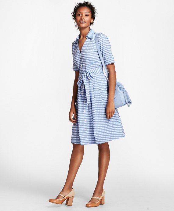 Petite Gingham Cotton Shirt Dress Blue