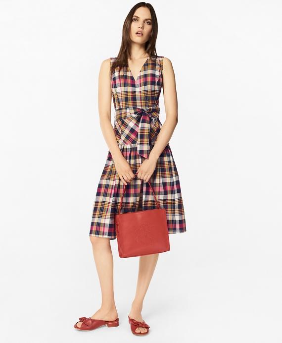 Petite Madras Cotton Faux Wrap Dress
