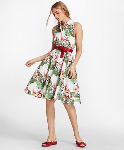 Petite Tropical-Print Cotton Sateen Shirt Dress