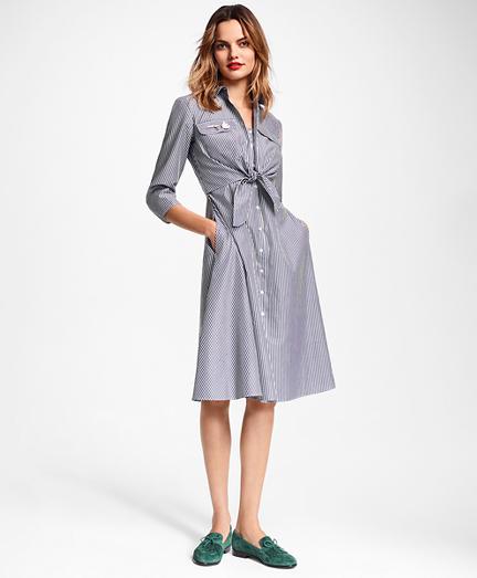Petite Striped Cotton Poplin Tie-Waist Shirt Dress