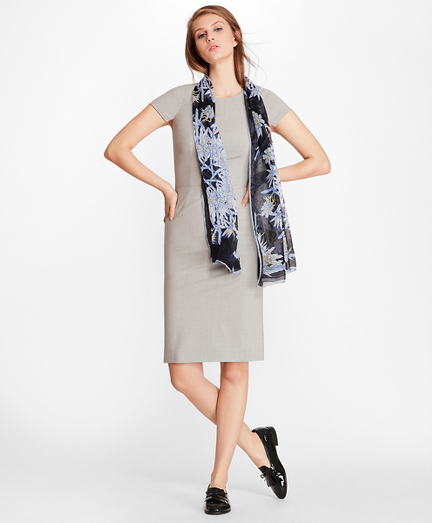 Petite Stretch-Wool Cap Sleeve Sheath Dress