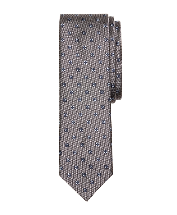 Four-Petal Flower Slim Tie Grey