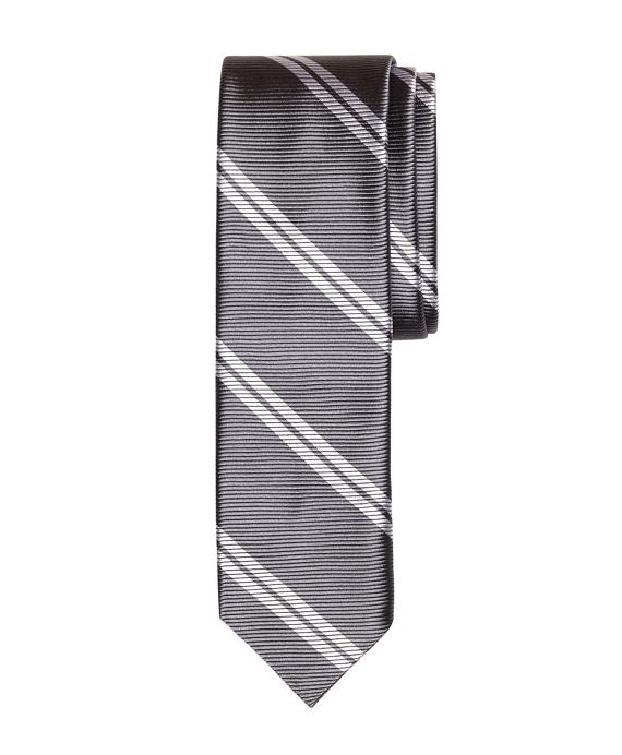 Twin Stripe Slim Tie Grey