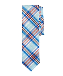 Red and Blue Multiplaid Slim Tie