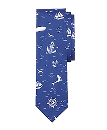 Nautical Print Slim Tie