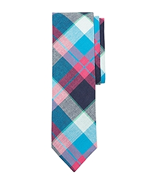 Pink and Blue Madras Slim Tie