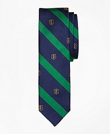 Stripe and Shield Slim Tie