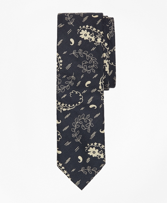 Paisley Print Slim Tie Navy