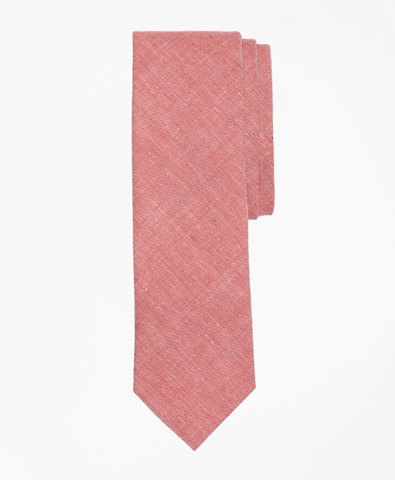 Red Chambray Slim Tie Red