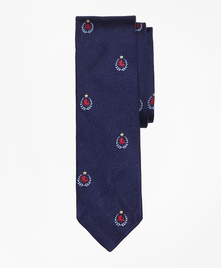 Crest-Motif Slim Tie