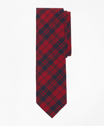 Red Plaid Slim Tie