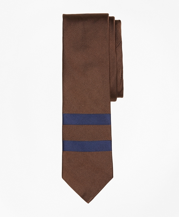 Placed Double-Stripe Silk Tie Brown