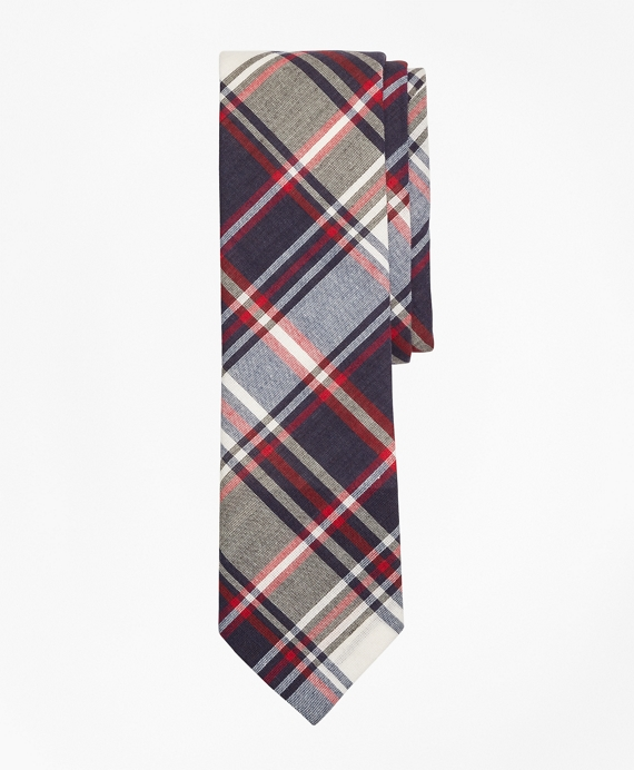 Plaid Madras Tie Navy-Red