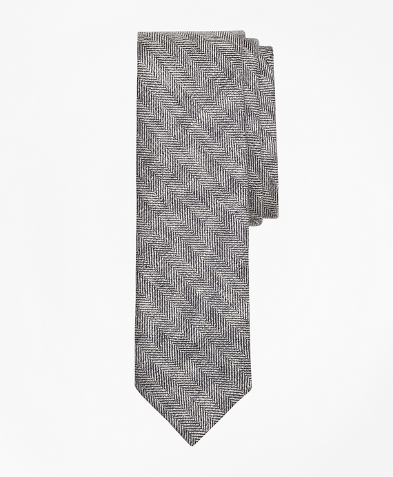 Herringbone Linen Tie Black-White