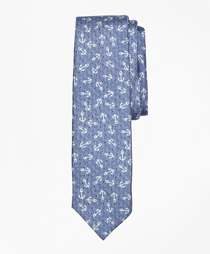 Distressed Anchor Silk Tie