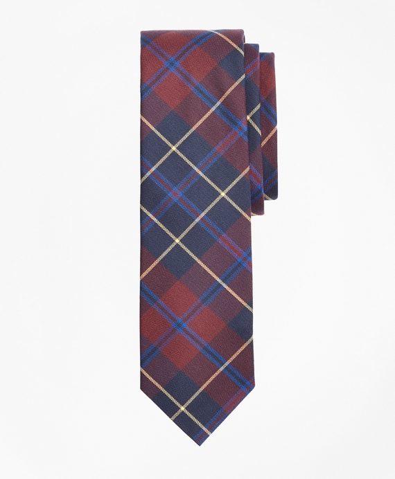 Check Cotton Slim Tie Burgundy