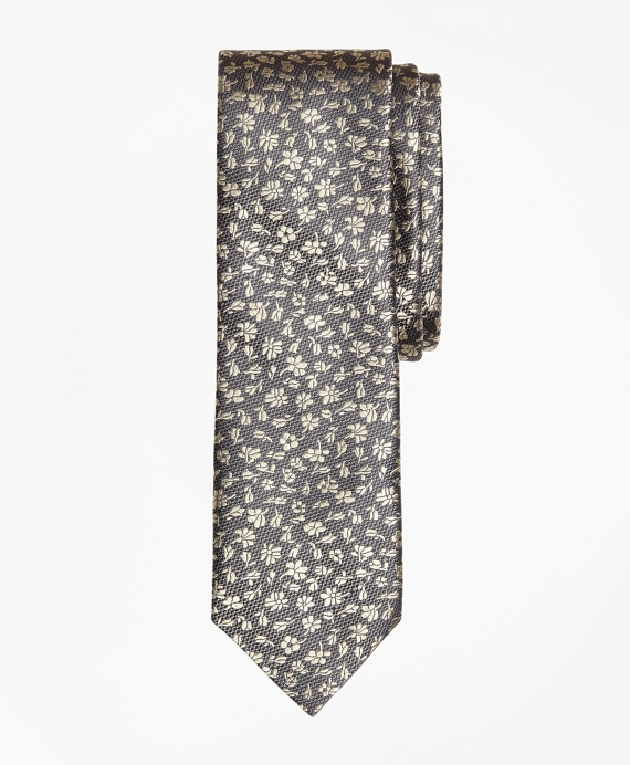 Floral Silk Jacquard Slim Tie Grey