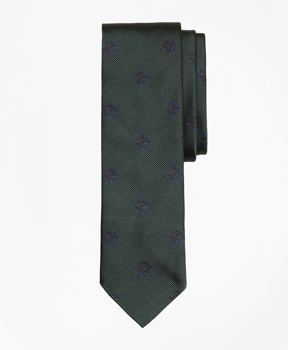 Medallion Silk Jacquard Slim Tie Green