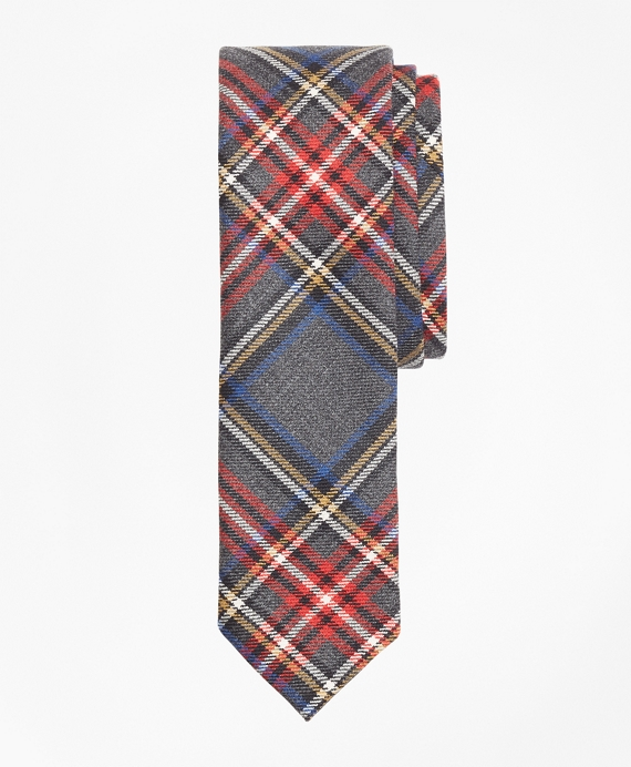 Tartan Wool Tie Grey-Multi