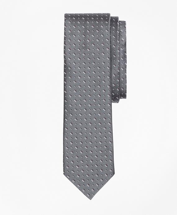 Geometric Silk Foulard Tie Grey